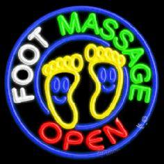 Foot Massage Open Neon Sign