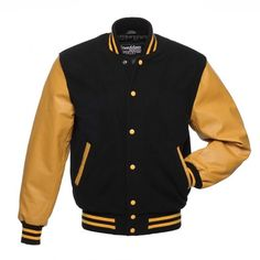 Black Wool and Gold Leather Varsity Jacket - C134 US ($50) ❤ liked on Polyvore featuring outerwear, jackets, black jacket, patch leather jacket, leather letterman jacket, real leather jacket and genuine leather jacket