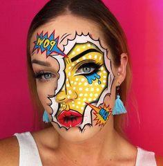 Pop Art Makeup, Face Paint Makeup, Edgy Makeup, Unique Makeup, Creative Makeup Looks, Fx Makeup, Crazy Makeup, Simple Makeup, Beauty Makeup