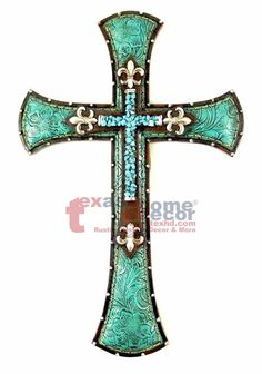 Floral Turquoise Decorative Wall Cross Stone Look Silver Fleur Lis Studs Decorative Crosses, Wooden Crosses, Crosses Decor, Wall Crosses, Cross Decorations, Cross Walls, Celtic Cross Tattoos, Turquoise Home Decor, Shoe Wall