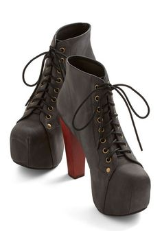 Blogger Spotlight Heel by Jeffrey Campbell - High, Leather, Black, Solid, Party, Statement, Best, Platform, Wedge, Lace Up