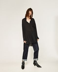 Image 1 of SILK OVERSIZED SHIRT WITH POCKET from Zara