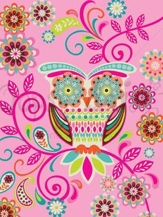 'Hootie Cutie' by Mary Beth Freet, owl in pink