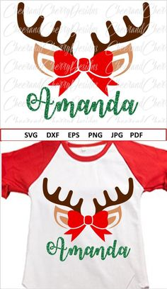 Christmas DIY : Personalized Christmas SVG Reindeer Monogram Svg Christmas Svg for girls Reindeer with Bow SVG Cricut Reindeer Svg Eps Png Dxf Silhouette Merry Christmas, Christmas Vinyl, Christmas Crafts, Xmas, Christmas Ideas, Christmas Shirts For Kids, Christmas Pajamas, Monogram Frame, Vinyl Shirts