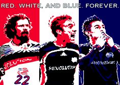 New England Revolution.  Futbol Artist Network art series done in collaboration with Major League Soccer.  Art by Prairie Rose Clayton of MA.  Art can be purchased at www.futbolartistnetwork.com