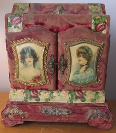 Antique Victorian Travelling Vanity Box Velvet Celluloid Red Roses Jewelry | eBay
