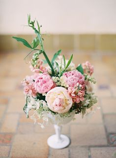 Peach and Pink Florals in Milk Glass Vase | photography by http://www.claryphoto.com