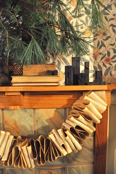 Book pages garland. Maybe next year I'll have a real mantle where I could display something cool like this!