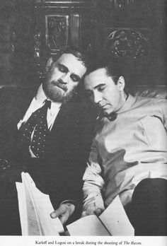 Karloff and Lugosi on a break during the shooting of 'The Raven'. (Via: Horror Connection on Facebook: http://www.facebook.com/photo.php?fbid=352473114838928=a.329694700450103.76598.329692783783628=1)