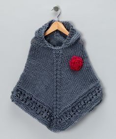 Link & Loop Gray Knit Poncho  I love ponchos on lil girls...I wish my daughter would wear one :(