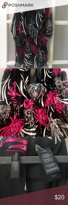 Flowers, metallic, and looks of leather top 🖤💞 Bisou Bisou blouse. Never worn. Cinch waist, keyhole peek-a-boo front and buttoned neck. Bisou Bisou Tops Blouses