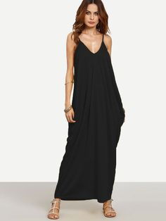 V-neckline Cocoon Cami Dress -SheIn(Sheinside)