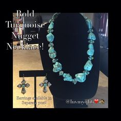 """Bold Turquoise Nugget Statement-Making Necklace Bold Turquoise Nugget Statement-Making Necklace adorned with simulated Turquoise Stones and Shimmering Faceted Bead Accents that create a Chic look! Lobster claw closure. Stones are different sizes but the biggest is approximately 1 inch X 1 1/4 inch long and less than a inch wide. Measures approx. 18"""" Long with 2"""" Silver Chain Extension. BNWT R $40 Studio Select Jewelry Necklaces"""