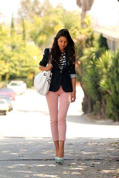 blazer + cropped pants + stripes