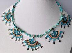 """OYA"" Needle lace and turquoise necklace"