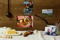 A sort of smorgasbord of Jeremy Lee's memories: childhood photos and a picture of granny's lentil soup, pinned to a wooden back board, in front of which there's a rustically covered trestle table, with a big slab of butter and a tiny rolling pin.