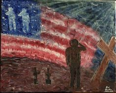 Ultimate sacrifice. Ultimate respect.  Oil painting by Brad Hamilton - Palette knife only and the rays of light were done with a brush after the main painting dried.