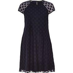 Navy blue mesh spot smock swing dress £25.00