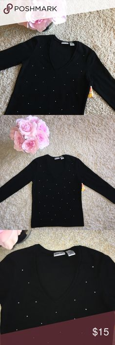 Brand New Black Rhinestone Top 🌸 BMWT! 95% cotton and 5% spandex! It has some stretch! Super cute to dress up or down. 🌷It's a size large and I think it's a juniors large, but I'm not sure. I'm a woman's small or medium and it would it me. Tops Blouses