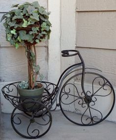 Shabby Chic Wrought Iron Bicycle Plant by ForgetMeNotsCottage, $52.00 (SOLD)
