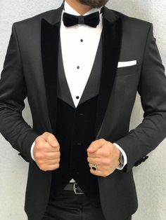 Bernard Occassion Tux Vested Suit is part of Suits - 19 Size EU 464850525456 ( See Size Chart ) Suit material Wool , Lycra Machine washable No Fitting Regular Slimfit Remarks Dry Cleaning Only Grey Tuxedo Wedding, Black Suit Wedding, Wedding Men, Wedding Suits, Wedding Dress, Slim Fit Tuxedo, Tuxedo For Men, Mens Fashion Suits, Mens Suits
