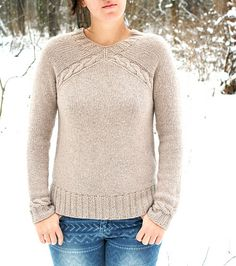 Yuka is a cozy pullover knit from the bottom-up with interesting seamless construction. It features v-neck, high-low hem and simple cables.