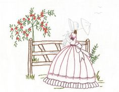 """Julia's Place: """"Country Stroll"""".... crinoline lady embroidery"""