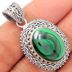 Malachite 925 Sterling Silver Pendant Jewelry MLAP1078 - JJDesignerJewelry