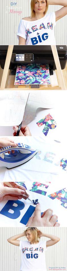 DIY tees / DIY tee-shirt / print words / floral words / dream big / Blog DIY Artlex