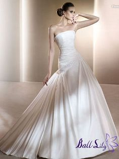 www.balllily.com $265Strapless Natrual Waist Floor Length Wedding Dress WDM087