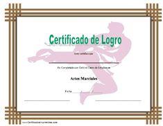 Certificado de Logro en Artes Marciales para imprimir los certificados, gratis para descargar e imprimir