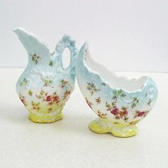 Antique Egg Shaped Bowl Sugar Creamer Set Porcelain Blue Yellow Cream Pitcher Tea Party Hand Painted