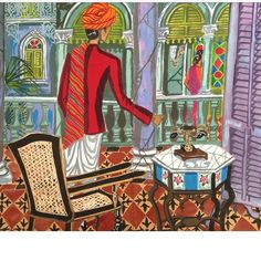 Remembering India as sketched during my last stay. Loved the exotic location and the constant bustle and colour. Interior details include marble table shutters cane chair exotic floor tiles marble arches and pillars. #india #sketchbook #gregirvineartist #jaipur #interiordesign #marblecilumns #painting #woodenshutters #ceramictiles #vintagechair #vintagetable by gregirvineartist