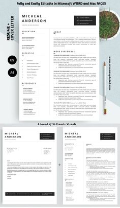 Modern Resume Template, Resume Templates, Cover Letter Template, Professional Resume, Communication, Web Design, Lettering, Words, Resume Maker Professional