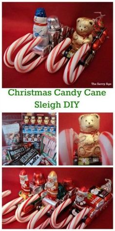 Use coupons and the dollar store to stock up fo Christmas Candy Cane Sleigh DIY. Use coupons and the dollar store to stock up for these cute little snowmen teddy bear and santa candy cane sleighs. Christmas Candy Crafts, Candy Cane Crafts, Christmas Favors, Dollar Store Christmas, Christmas Gifts For Friends, Christmas Goodies, Homemade Christmas, Christmas Diy, Christmas Sleighs