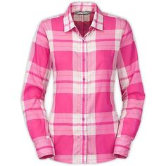 The North Face Women's LS Shade Me Shirt ($60) ❤ liked on Polyvore featuring raspberry rose plaid and the north face