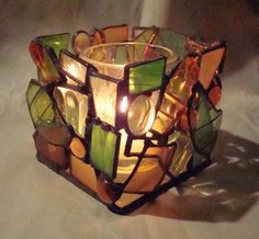 This and That Stained Glass votive holder by artyecological, $40.00