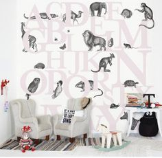 ABC You Wall Panel A lovely children's alphabet wall panel in blue. Children can learn the alphabet straight from their walls and discover which letter the different animals begin with. Available in three colour variations Bold Wallpaper, Unique Wallpaper, Wallpaper Decor, Kids Wallpaper, Winter Bedroom, Kids Bedroom, Kids Rooms, Bedroom Ideas, Childrens Bedroom Wallpaper