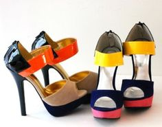 Ceduce Beige/Orange Strap Color Block High Heel Ankle Platform Sandals Stilettos Shoes