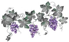 This small gape vine wall stencil border is lovely with its pretty clumps of grapes. Stencil Patterns, Stencil Designs, Vine Drawing, Wine Tattoo, Première Communion, Large Stencils, Stencil Painting, Leaf Stencil, Stenciling