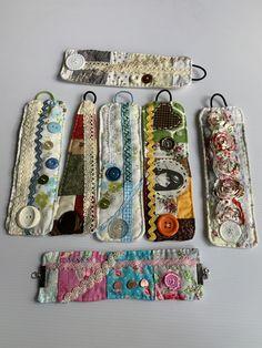 Vintage Linens Fabric Cuff Bracelet Boho Fashion with Button Embellishments Fabric Beads, Fabric Art, Fabric Scraps, Linen Fabric, Fabric Sewing, Textile Jewelry, Fabric Jewelry, Scrap Fabric Projects, Fabric Bracelets