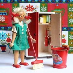 Vintage Wooden Miniature Broom Cupboard