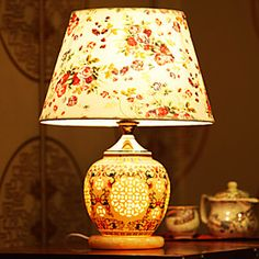 Classic Table Lamp Chinese Jingdezhen Ceramics Garden Rustic Style Fabric Shade