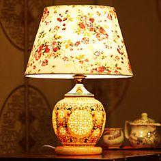 Classic Table Lamp Chinese Jingdezhen Ceramics Garden Rustic Style Fabric Shade