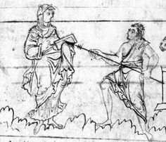 Fides (Faith) squares off against Veterum Cultura Deorum (Worship of Old Gods). Fides wraps her hand in her overdress to hold the Bible, displaying her underdress. I wouldn't vouch for Old Gods's outfit's authenticity.
