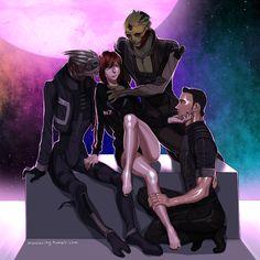 Garrus, Kaidan, Shepard, Thane