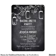 Mason Jar Chalkboard Rustic Bachelorette Party Card