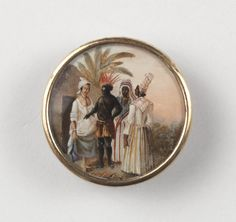 One of a Set of Eighteen Buttons with West Indian Scenes, c. 1795.  Artist: Agostino Brunias, Italian active in England and Haiti 1730-1796, Dominica (Current Haiti/Santo Domingo). Possibly belonged to Toussaint l'Ouverture, the former slave who became ruler of Haiti and adorned the jacket he took with him when exiled to France after his capture. Cooper-Hewitt National Design Museum