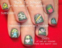 teal filigree nail art, teal ombre nail art, back to school nail art, School Nail Art, Back To School Nails, Graduation Nails, Homecoming Nails, Nails For Kids, Girls Nails, Cute Nail Art, Easy Nail Art, Chalkboard Nails