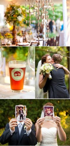 Love the bottom pic - Bride and Groom holding pictures of themselves as children